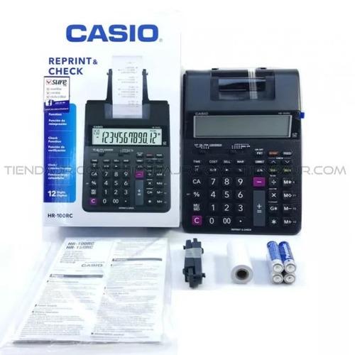 calculadora casio 12 digitos c/bobina pilhas hr-100tm + nfe