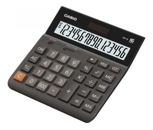 calculadora casio 16 dígitos dh-16 bk solar