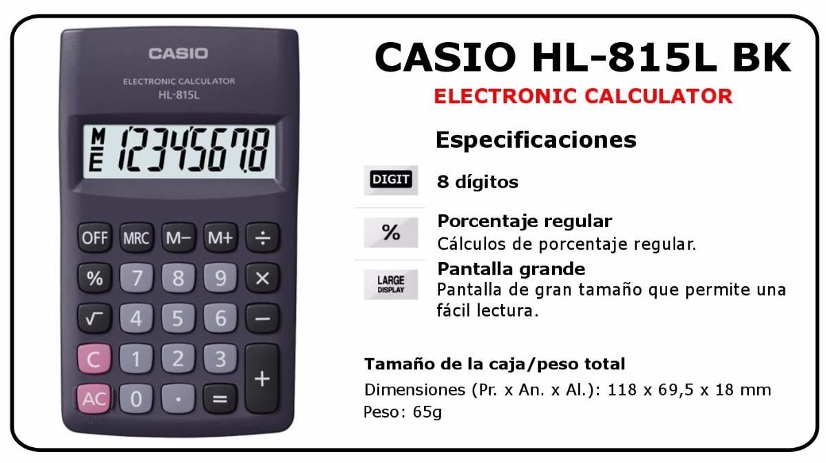 Resultado de imagen para CALCULADORA CASIO HL-815l