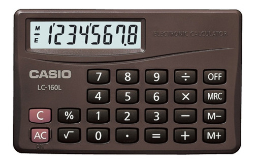 calculadora casio lc-160 lv con tapa display exta largo