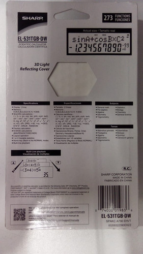calculadora científica sharp 273 func el-531tgb-dw original
