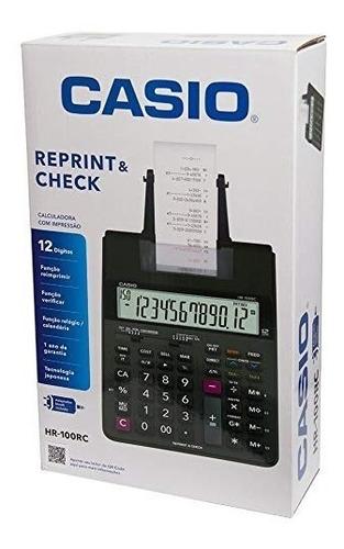 calculadora com impressão reprint & check casio hr-100rc