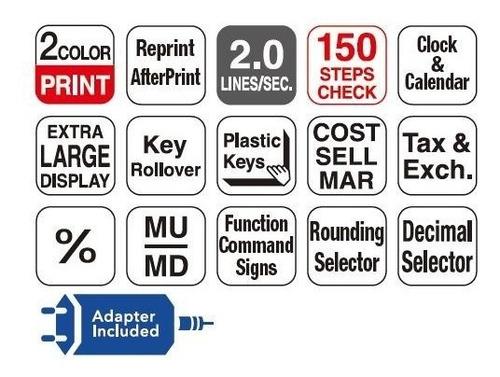 calculadora con impresor casio sumadora hr-200rc