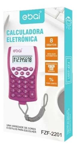calculadora eletronica 8 digitos com cordão cores variadas