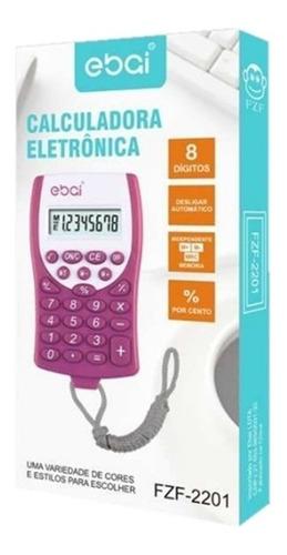 calculadora eletronica com cordão cores variadas 8 digitos