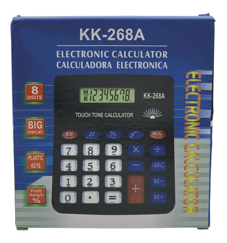 calculadora escritorio 8 dígitos sonido pila incluida kk-268