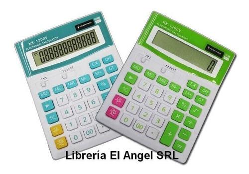 calculadora kenko 1200v colores 12 digitos solar y bateria