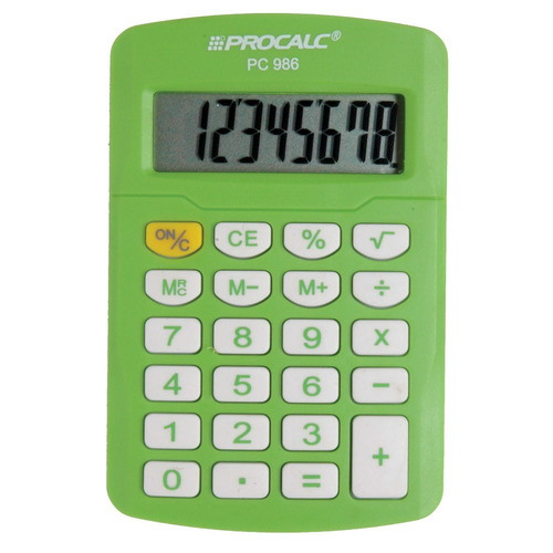 calculadora pc 986-gn verde procalc