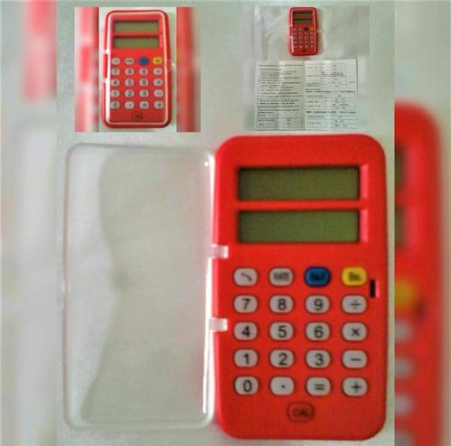 calculadora  pequeña de bolsillo con tapa   color roja
