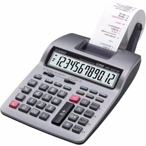 calculadora sumadora casio 12 digitos hr-100tm con adaptador