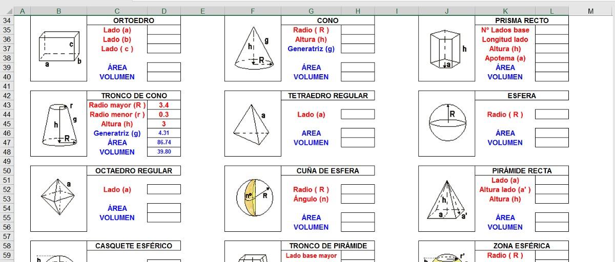 Calculo Areas Y Volumenes, Hoja De Excel. - Bs. 407.999,92 en ...