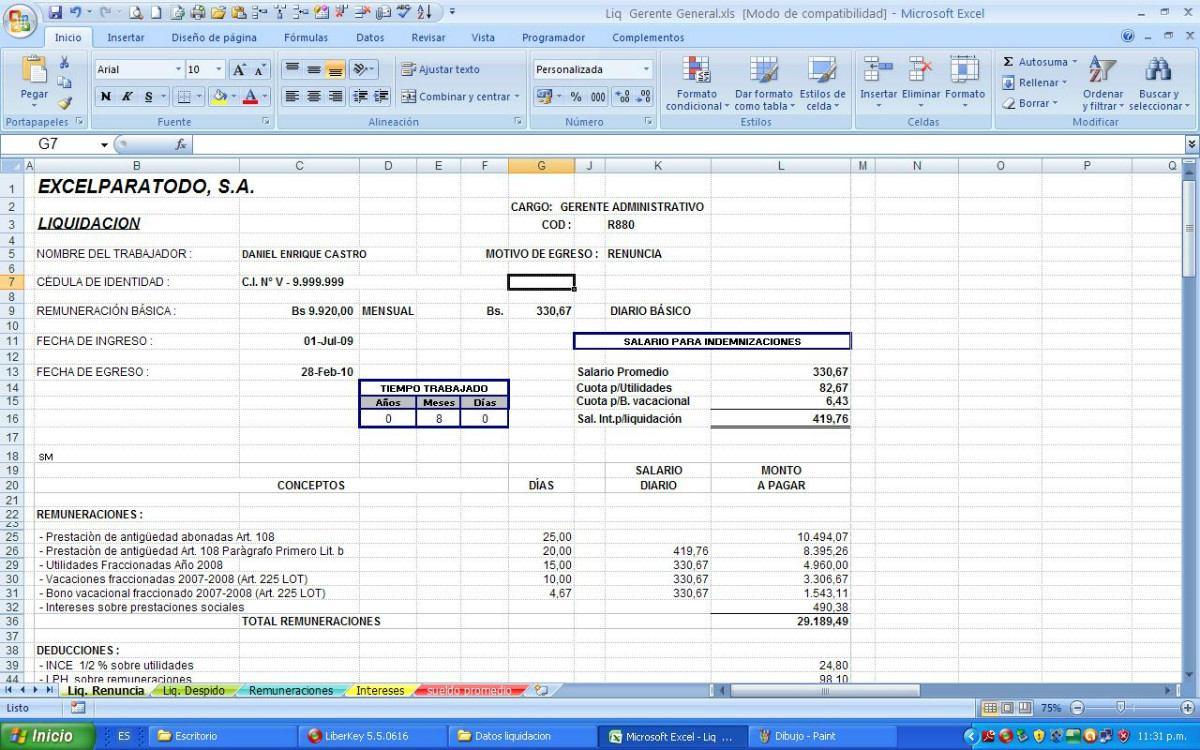 Calculo De Prestaciones Sociales,bajo Lottt , Ley Vigente - Bs ...