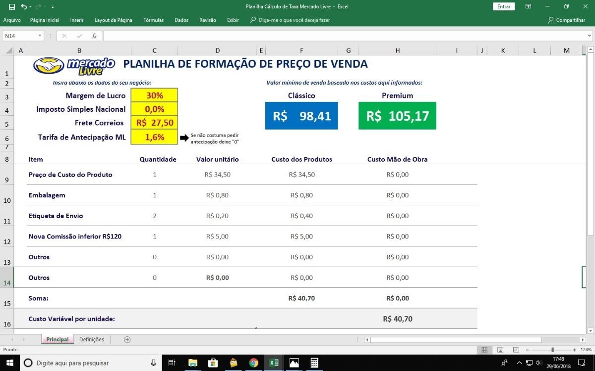 1a906e36509 Cálculo Preço Certo De Venda Mercado Livre Atualizado 2018 - R  9