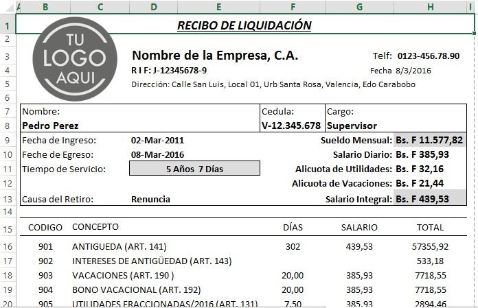 Calculos Salariales 2018 Liquidaciones Lottt Plantilla