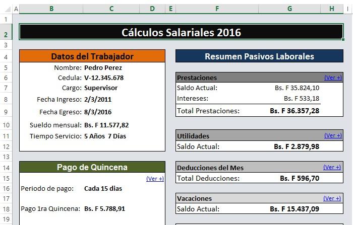 Calculos Salariales 2018 Liquidaciones Lottt Plantilla Excel - Bs ...