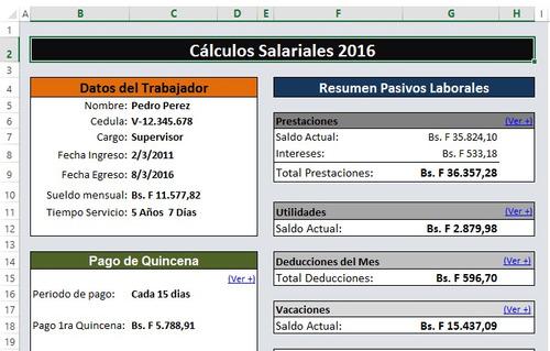 calculos salariales 2018 liquidaciones lottt plantilla excel