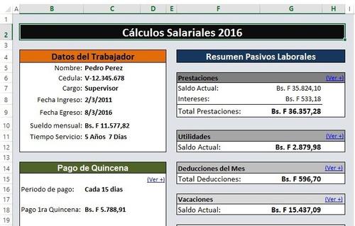 calculos salariales 2020 liquidaciones lottt plantilla excel
