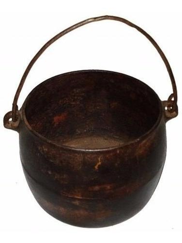 caldeirão de ferro antigo usado (20x15)cm + alça