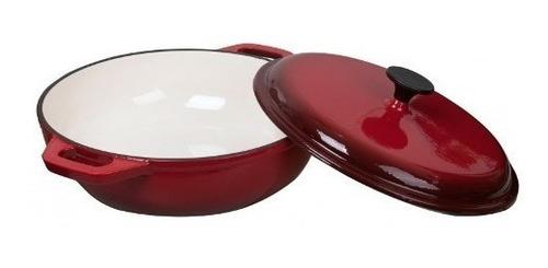 caldero con tapa cast iron 30 x 8.5 cm - roja - 5 litros