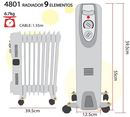 calefactor calentador aceite 9 elementos 3 niveles 1506