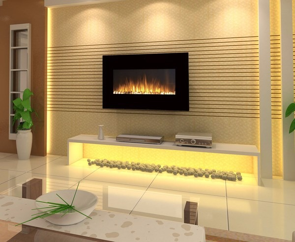 Calefactor chimenea el ctrica de pared pantalla curva 90cm - Chimeneas de pared ...