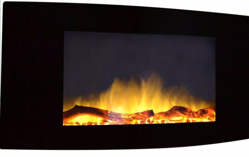 Calefactor chimenea el ctrica de pared pantalla curva 90cm 3 en mercado libre - Calefactor de pared bano ...
