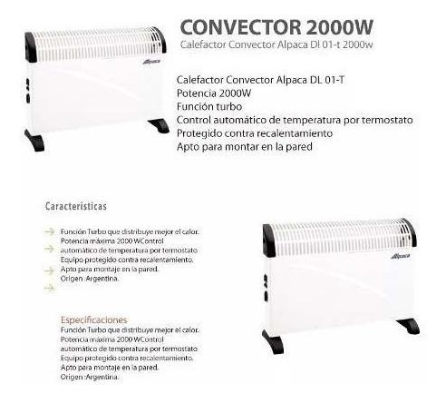 calefactor convector 2000w turbo alpaca dl01 con termostato