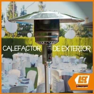 calefactor exterior hongo estufa gas mesa +ruedas acero inox