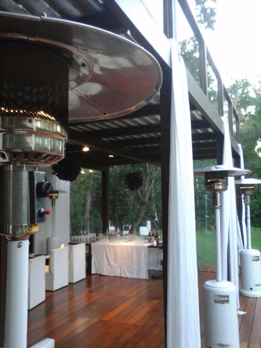 calefactor hongo, sillas tijera en la plata, living, gazebos