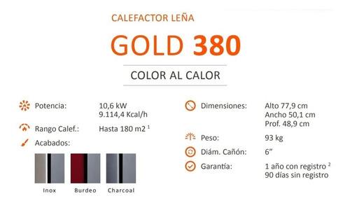 calefactor leña bosca gold 380 doble combustion pot. 10.6 kw