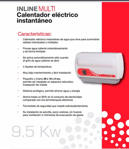 calefon eléctrico atmor inline multi 9.5 kw