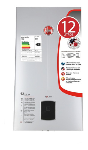 calefon gas natural 12 litros tiro natural rheem ionizado