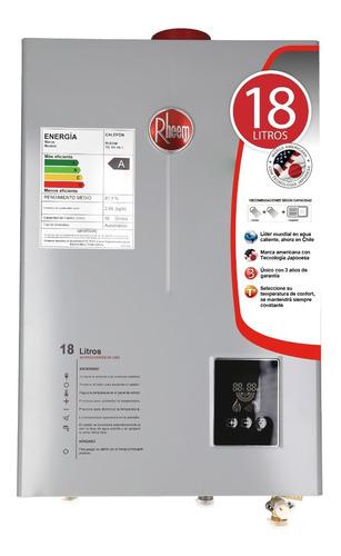 calefon gas natural 18 litros tiro forzado rheem digital
