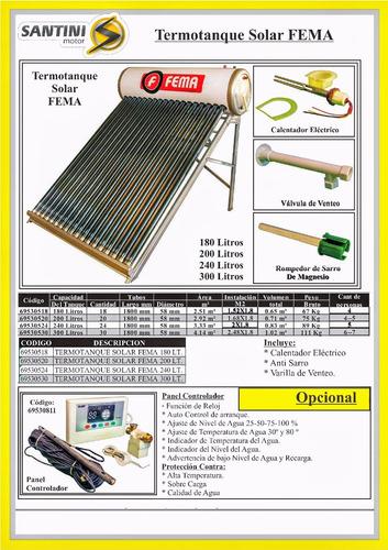 calefon solar calefaccion termotanque solar 180 l  santini