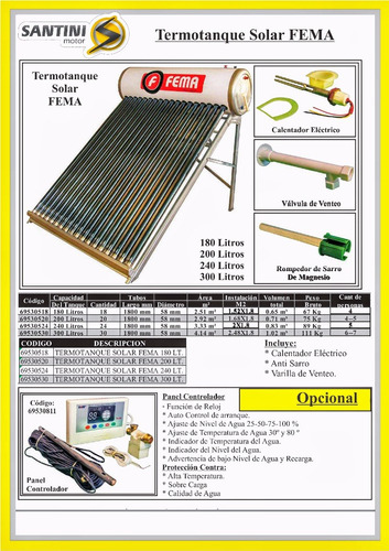 calefon solar termotanque 180 litros 18 tubos santini