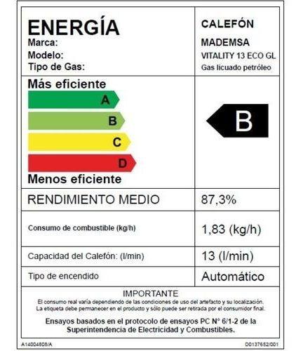 calefont 13 litros ionizado mademsa vitality eco gl nuevo