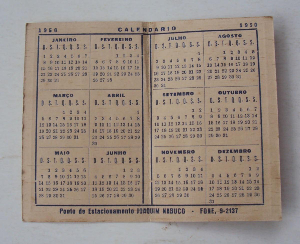 Calendario 1950.Calendario 1950 Joaquim Nabuco Raro F 0032