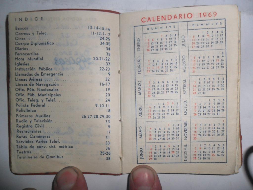 Calendario Del Ano 1969.Calendario 1969 Almanaque Agenda Plano Subte Direcciones 99 00