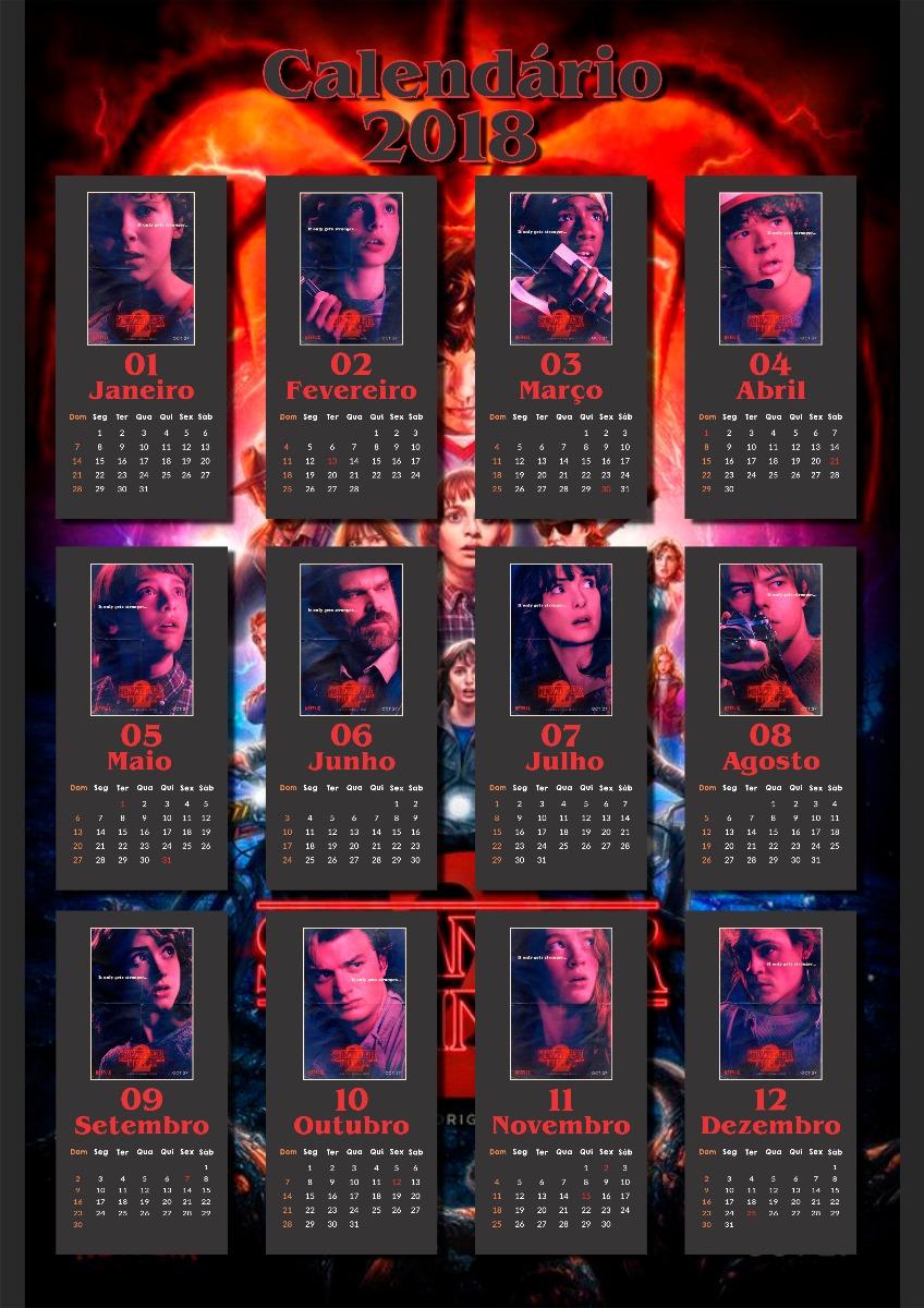 Calendario Stranger Things.Calendario 2018 Personalizado Stranger Things Arte Digital