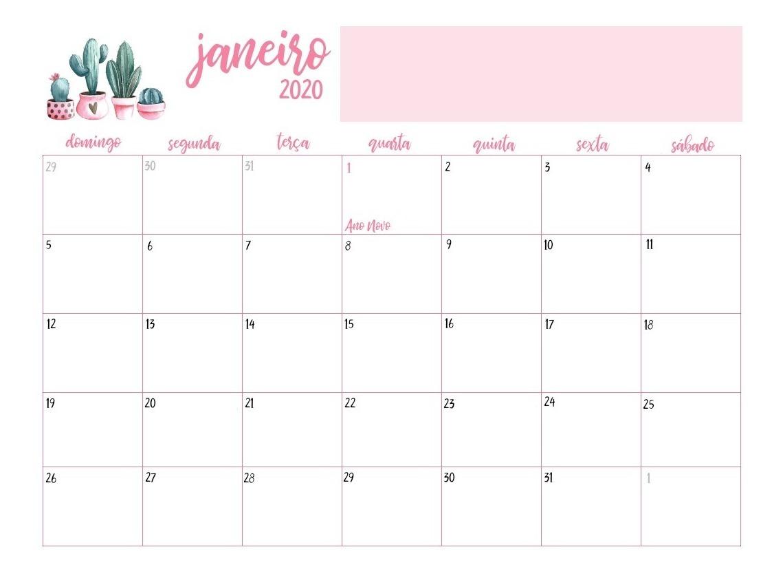 Ano 2020 Calendario.Calendario 2019 2020 Cactos Rosa Pdf Feriados Planner