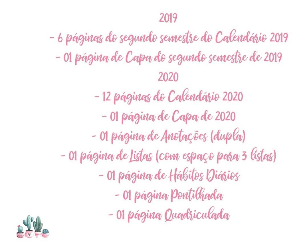 Calendario Rosa 2020.Calendario 2019 2020 Cactos Rosa Pdf Feriados Planner