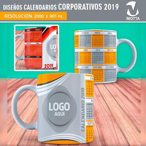 calendario 2019 corporativo plantillas para mug sublimación