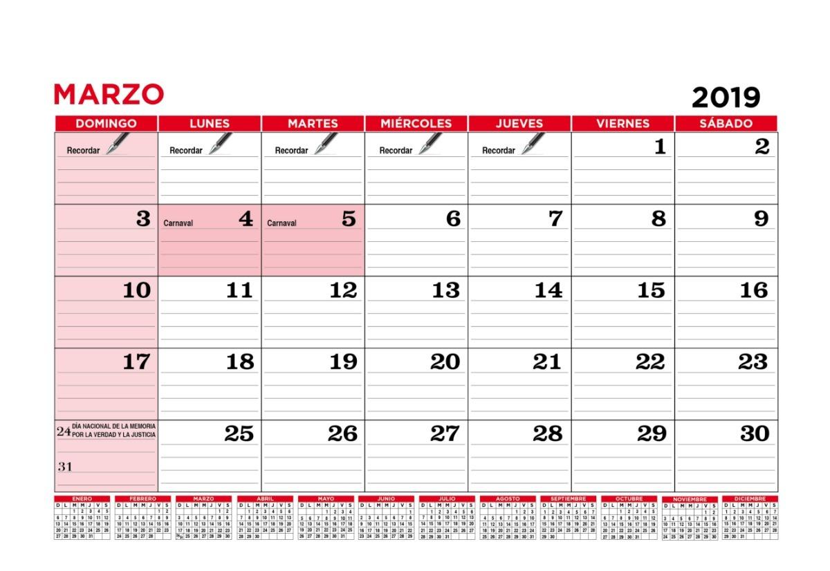 Calendario Grande.Calendario 2019 Espiralado 41x30 Cm A3 Grande