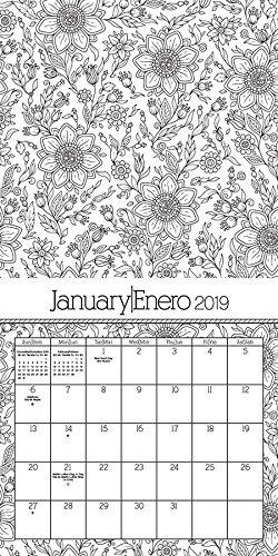 Calendario 2019 Para Colorear.Calendario 2019 Para Colorear Calendario De Pared Bilingue