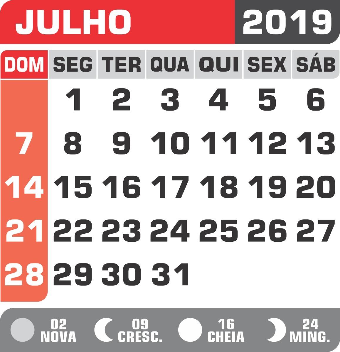Calendário 2019 P/blocos C/lua+feriados Em Png+pdf ...