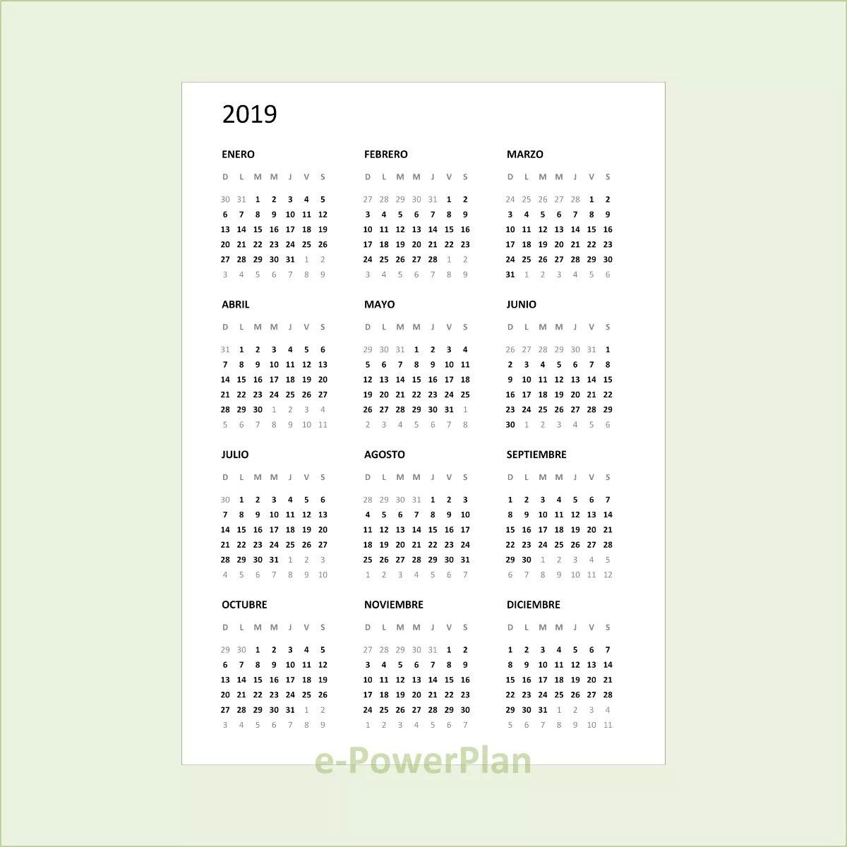 Calendario 2019 Para Imprimir.Calendario 2019 Pdf A6 Para Imprimir
