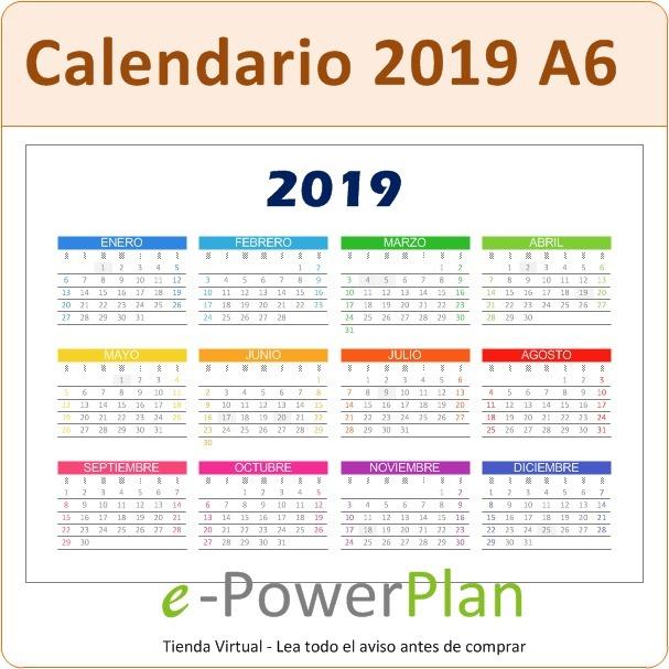 Calendario 2019 Pdf Tamano A6 Para Imprimir 7 Colores 19 99 En