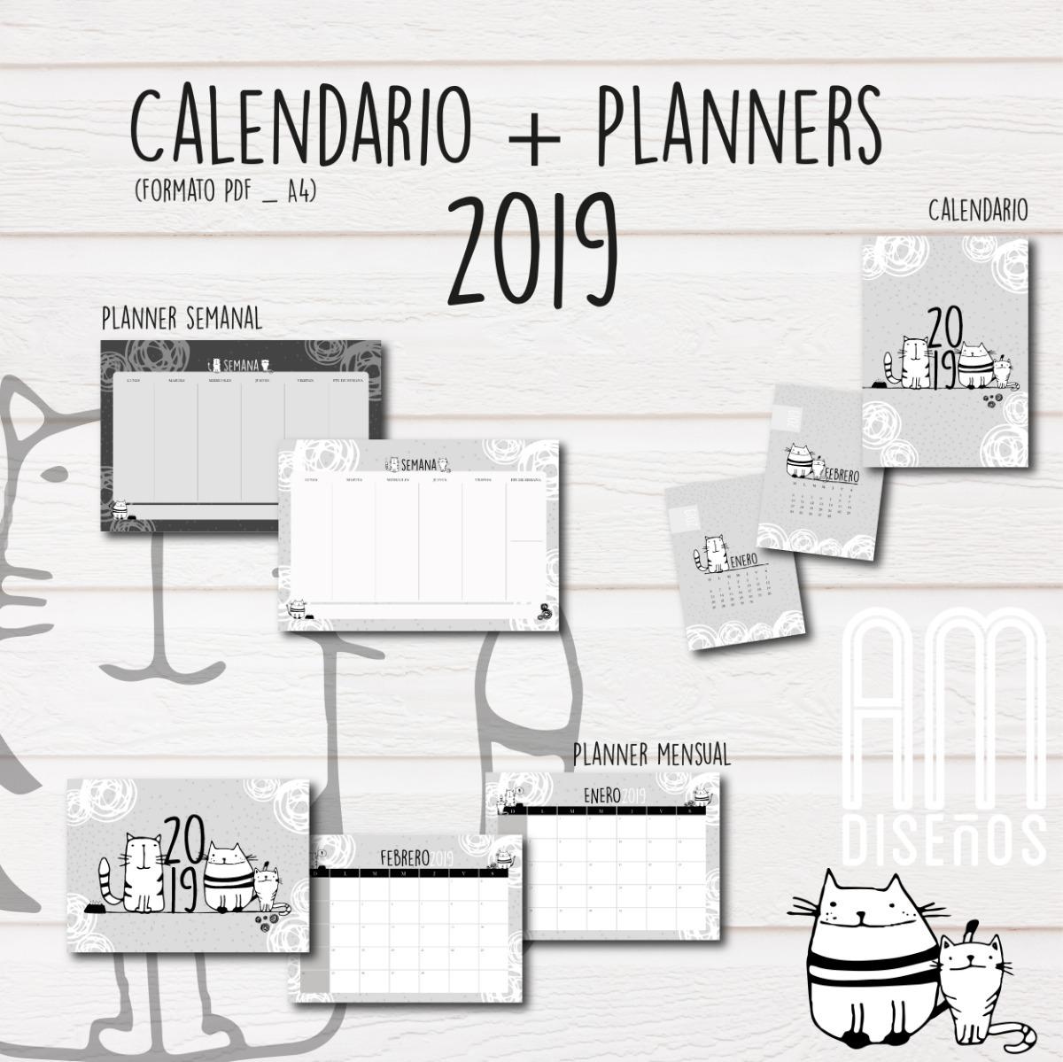 Calendario 2019 Planner Mensual Y Semanal Imprimible 250 00