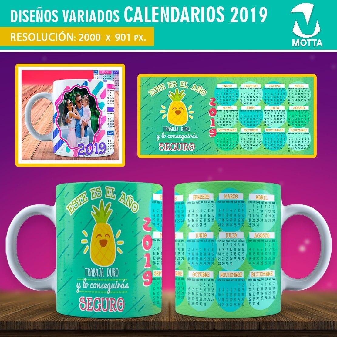 Calendario 2019 Plantillas Para Tazas Mug Sublimación Motta ...