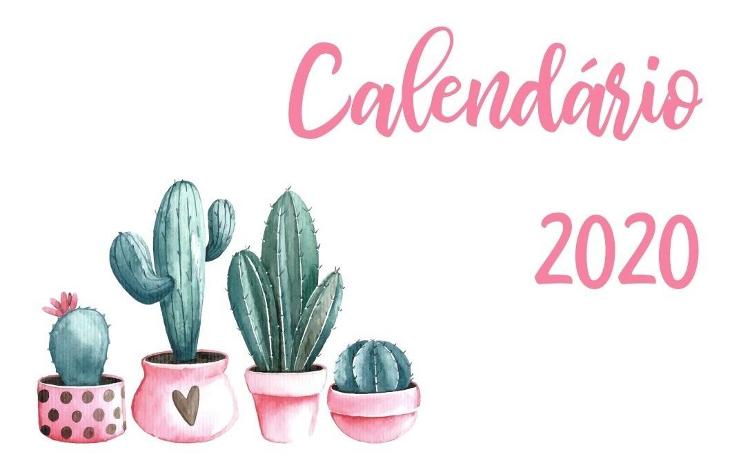Calendario Rosa 2020.Calendario 2020 Cactos Rosa Pdf Feriados Nacionais Planner